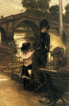 """""""By the Thames at Richmond"""" (1878-1879) by James Jacques Joseph Tissot (1846-1902)."""