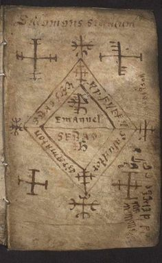 34060316 Galdrakver (Little Book Of Magic) -- 17th century Icelandic manuscript, written on animal skin and containing magical staves, sigils, prayers, charms and related texts.