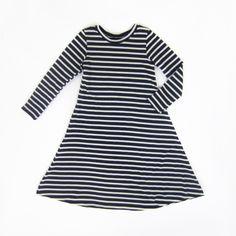 fe3abf21ecf5f0 Girls Navy Striped Long Sleeve Swing Dress Navy Stripes, Navy Blue, Cotton  Spandex,. Liberty Lark LLC