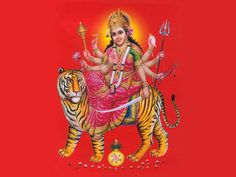 Durga Maa on Lion Represent Gluttony