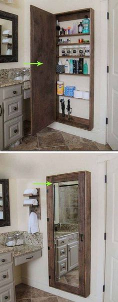 DIY Bathroom mirror storage case that holds everything. - 17 Repurposed DIY Bathroom Storage Solutions-- --not for just the bathroom. Bathroom Storage Solutions, Home Projects, Bathroom Makeover, Woodworking Projects Diy, Bathroom Mirror Storage, Home Diy, Medicine Cabinet Mirror, Bathrooms Remodel, Bathroom Mirrors Diy