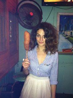 jenny slate with a giant corn dog
