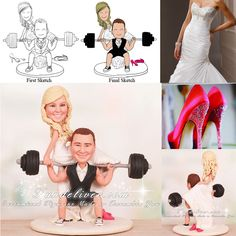 Squatting Groom Powerlifting Bride on Barbell Cake Toppers