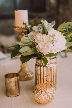 whimsical-greenery-wedding-gold-centerpiece