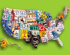 License plate art on United States License Plate Crafts, Old License Plates, License Plate Art, Licence Plates, Happy City, Map Crafts, Map Globe, Gadgets, Antique Maps