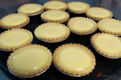 Egg tart recipe - straightforward, and can be made with sweetened or unsweetened tart shells. The filling can be made and frozen for later use with no issues for baking or consistency. Chinese New Year Desserts, Asian Desserts, Köstliche Desserts, Dessert Drinks, Delicious Desserts, Dessert Recipes, Best Chinese Recipes, Asian Recipes, Chinese Egg Tart