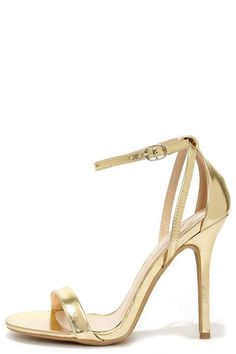 Glam Squad Gold Ankle Strap Heels #anklestrapsheelswedding #goldanklestrapsheels #promheelsstrappy