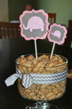 My Paper Productions: Pink Glitter Elephants Baby Shower