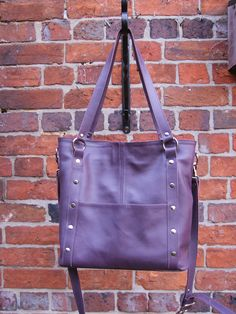 Machine stitched hand bag with rivet detail. Leather Working, Real Leather, Messenger Bag, Satchel, Handbags, Detail, Satchel Purse, Totes, Satchel Bag