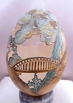 Attractive Egg Shell Artwork By Christel Assante Carved Eggs, Art Carved, Fabrege Eggs, Incredible Eggs, Types Of Eggs, Arte Peculiar, Egg Shell Art, Egg Crafts, Easter Crafts