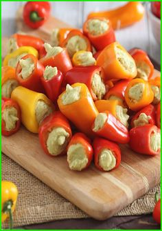 The Colorful-Delicious-Crunchy Hummus-Stuffed Mini Bell Peppers http://www.pinterest.com/pin/111182684525347988/