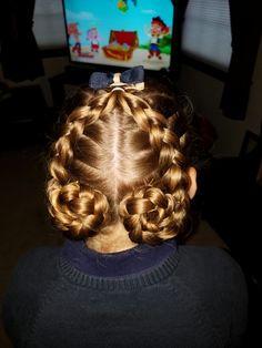 2 dutch braids into buns  ♡