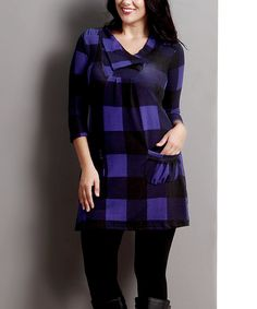 Another great find on #zulily! Blue Buffalo Check Shawl Collar Pocket Tunic - Plus by Reborn Collection #zulilyfinds