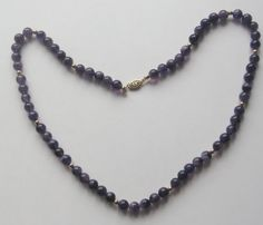 genuine vintage Austrian crystal 10mm round multifated /& 3mm bi-cones beads,amethyst color,gold filled clasp-unused 53cm Necklace 21L