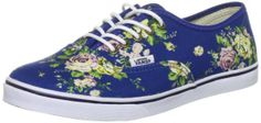 VANS Women's Authentic Lo Pro Floral Blue True White. on Wanelo