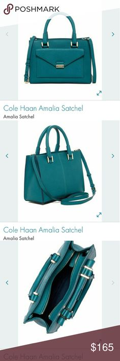 "New Cole Haan Amalia Satchel, Medium size. Approx. 8"" H x 11"" W x 4"" D. The color is teal (not really green, and not really blue). Leather exterior. Comes with dust bag. Cole Haan Bags Satchels"