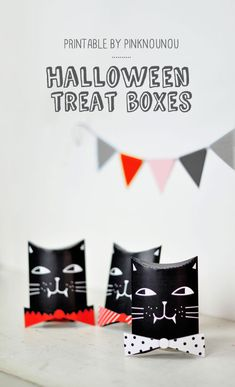 cat shaped Halloween treat boxes printable - by PinkNounou