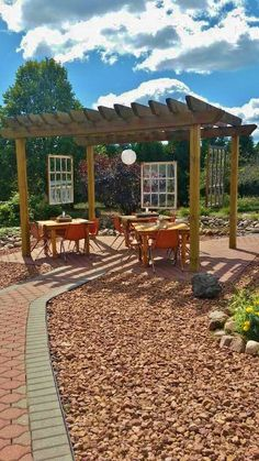 Windows, lanterns, spheres added to outdoor seating area