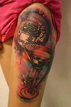 Disco Ball Tattoo Motive - http://tattootodesign.com/disco-ball-tattoo-motive/   #Tattoo, #Tattooed, #Tattoos