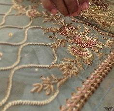 Detail of Ornate letter. Pearl embroidery done by Larissa Borodich Zardosi Embroidery, Border Embroidery, Hand Work Embroidery, Embroidery Suits, Gold Embroidery, Embroidery Fashion, Hand Embroidery Designs, Embroidery Purse, Tambour Embroidery