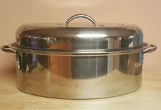 Vintage Metro Stainless Steel Oval Oven Roaster Pan With Lid  #Unbranded