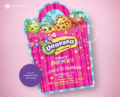Shopkins Party Invitation. Shopkins Invite. .Shopkins Bag