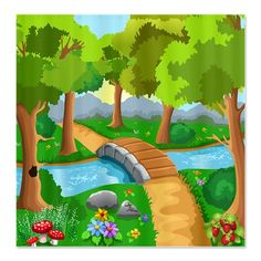 Enjoy the natural scenery around you with a smile Art Drawings For Kids, Drawing For Kids, Five Themes Of Geography, Forest Pictures, Canvas Art, Canvas Prints, Crazy Bird, Cartoon Background, Custom Shower Curtains