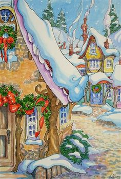 """Daily Paintworks - """"Christmas Village Storybook Co..."""" by Alida Akers"""