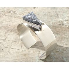 cuff sterling silver bracelet with galena mineral stone (€170) ❤ liked on Polyvore featuring jewelry and bracelets