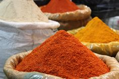Fragrant and Colourful Spices at the Spice Market in Old Delhi, India
