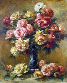 Ренуар, Пьер Огюст - Розы в вазе. часть 10 Эрмитаж. Описание картины, скачать репродукцию.