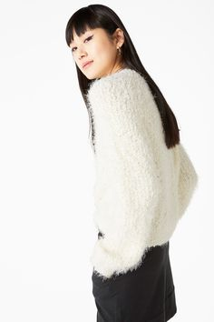 Monki Image 2 of Fluffy sweater in White