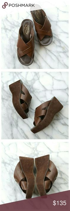 """Kork-Ease Lana Slides Classuc, comfortable criss-cross slides in brown leather with suede soles. Slip-on styling, padded footbed, manmade outsole. Heel height 3c, platform 1.25"""", length 9"""", width 3"""". Made in Brazil. EUC. Kork-Ease  Shoes Sandals"""