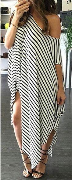 Striped Asymmetric Dress 😍😍