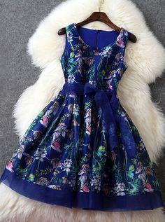 Blue floral printed dress