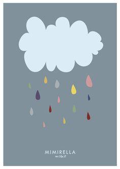 Poster - Bild Illustration Wolke Kinder von Mimirella auf DaWanda.com