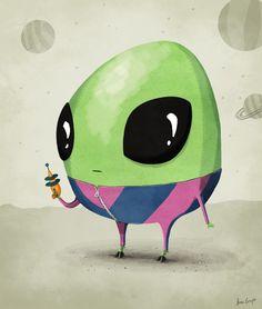 Rymdgubbe-illustration av Anna Grape