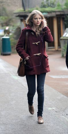 Style Inspiration: Burgundy Coat   a lane with trees