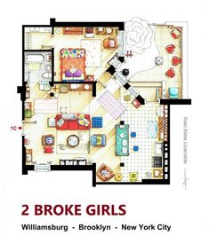· Floorplan of the apartment from 2 BROKE GIRLS. This is a hand drawn layout, made in scale, coloured with colour pencils and with full details o. Floorplan of the apt. from 2 BROKE GIRLS version A Girls Apartment, Apartment Layout, Apartment Plans, Sims House Plans, House Floor Plans, Golden Girls House, Tv Show House, Two Broke Girl, Diy Casa