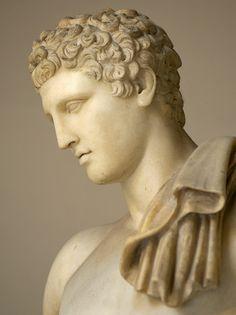Mercury (Hermes) - detail, Roman statue (marble), copy after Hellenistic original (bronze), 2nd century AD (original 4th c. BC), (Musei Vaticani, Vatican City).