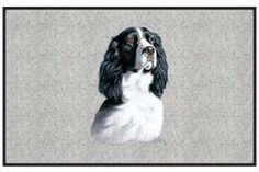 "Black and White Springer - Sporting Dogs - Gray - Door and Welcome Mat by Express Yourself Mats. $24.88. Door Mat Size 27""x18"". Personalization Available (choose above) - EMAIL TEXT TO SELLER AFTER CHECKOUT. Non-Skid Backing. Made in USA. Great Gift Idea!. Enjoy the Black and White Springer design heat pressed on this light-weight, low pile, woven polyester door mat. This decorative welcome mat measures 27 x 18 inches, is 1/8 inch thick and features a non-skid la..."