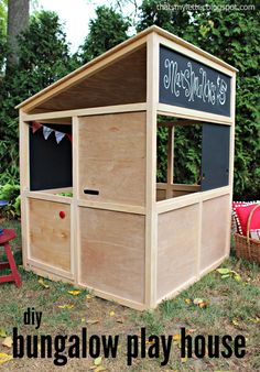 Learn how to build a bungalow playhouse that can be used indoors or out! FREE plans and tutorial at Ana-White.com