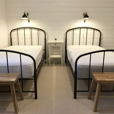 Twin bedroom ideas, beach house, lincoln city, oregon, black wrought iron bed