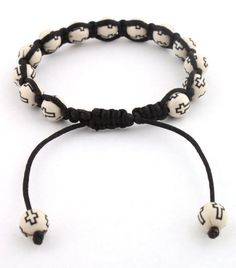 Two Pieces White with Black Cross Beaded Adjustable Bracelet Macrame Shamballah