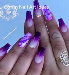 purple nail designs 30 Gorgeous Matte Purple Nails Design You May Try in Prom Long Nail Designs - Water Matte Purple Nails, Purple Nail Art, Purple Nail Designs, Long Nail Designs, Acrylic Nail Designs, Violet Nails, Purple Nails With Design, Beautiful Nail Designs, Black Nails
