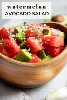 Enjoy a simple, delicious summer salad with this Watermelon Avocado Salad with Feta. Fresh and juicy watermelon, avocado, lots of freshly chopped cilantro and crumbles of feta make this easy salad recipe so delicious and refreshing. Avocado Salad Recipes, Summer Salad Recipes, Easy Salad Recipes, Easy Salads, Summer Salads, Easy Healthy Recipes, Quick Easy Meals, Whole Food Recipes, Melon Recipes
