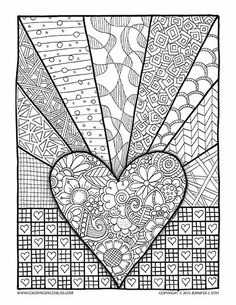 Valentine's Coloring Page for adults and grown ups. Printable coloring pages are great for stress relief and coping with pain.