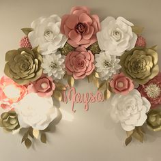 Beautiful Nursury set up/ Birthday party backdrop. Paper flowers in gold pink and white Ottawa Ontario
