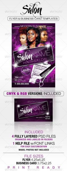 Salon Flyer and Business Card Templates - Corporate Flyers