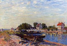 The Loing at Saint Mammes, Alfred Sisley Medium: oil,canvas